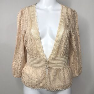 Flying Tomato Lace Crop Cover Up Cream Size Large